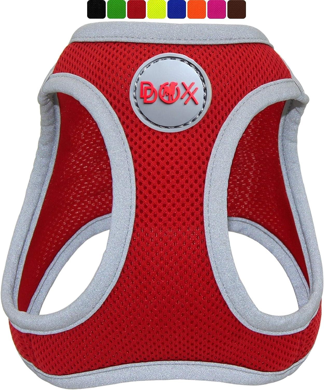DDOXX Arnés Perro Step-In Air Mesh, Ajustable, Reflectante, Acolchado | Muchos Colores & Tamaños | para Perros Pequeño, Mediano y Grande | Accesorios Gato Cachorro | Rojo, S
