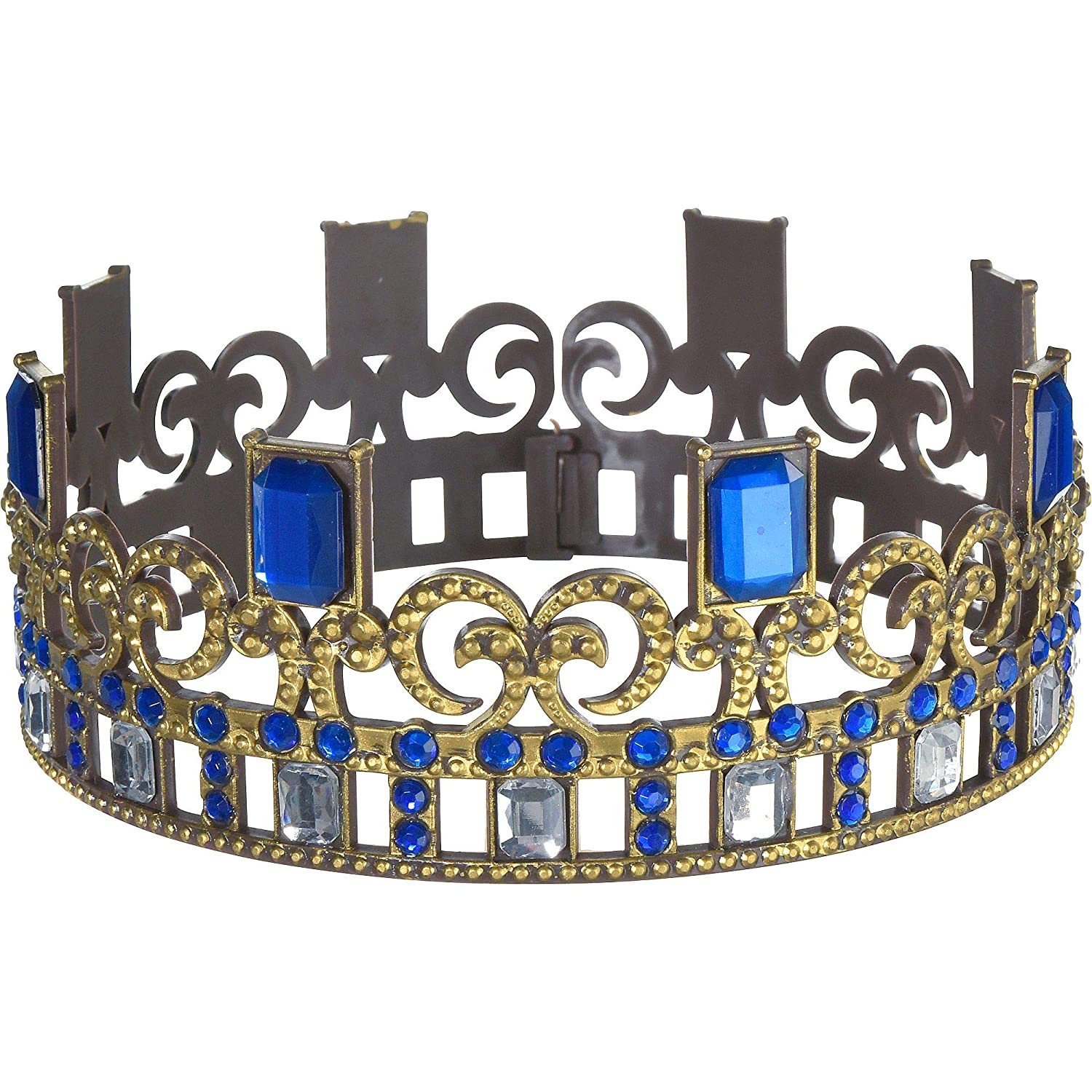 Party City Descendants 3 Audrey Crown For Children One Size Gold Tiara With Blue Gemstones And Clear Rhinestones