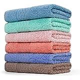 Cleanbear Face-Cloth Washcloths Set100% Cotton High Absorbent 6-pack 6 Colors Size13x13-deep color