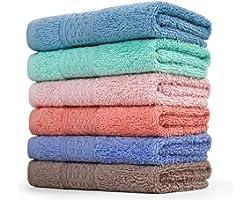 Cleanbear Face-Cloth Washcloths Set,100% Cotton, High Absorbent, 6-Pack 6 Colors, Size13 x13-deep Color