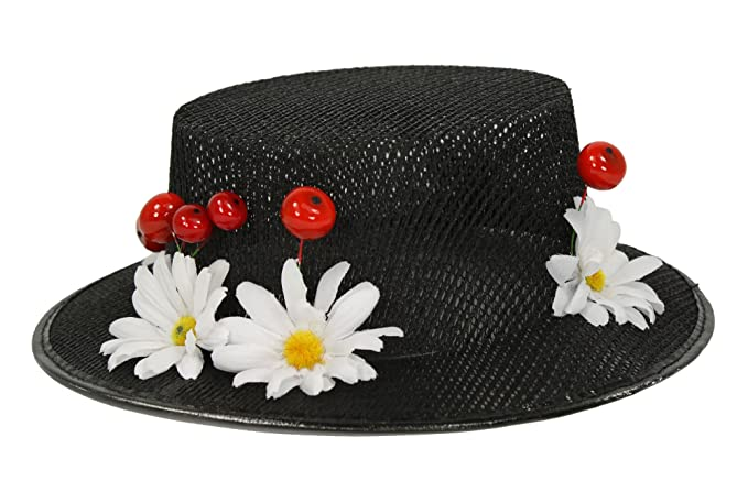 Edwardian Hats, Titanic Hats, Tea Party Hats Womens Mary Poppins Hat with Cherries and Daisies $44.95 AT vintagedancer.com