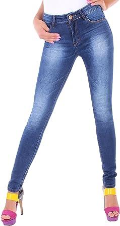 ddd4043120a877 Black Denim BD Damen Hight Waist Stretch Röhren-Jeans-Hose Hochschnitt in  blau mit