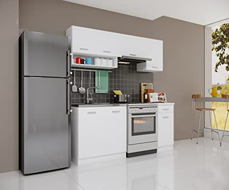 Cucina Riga Gemini Bianco Opaco 180 cm modulo cucina da incasso ...