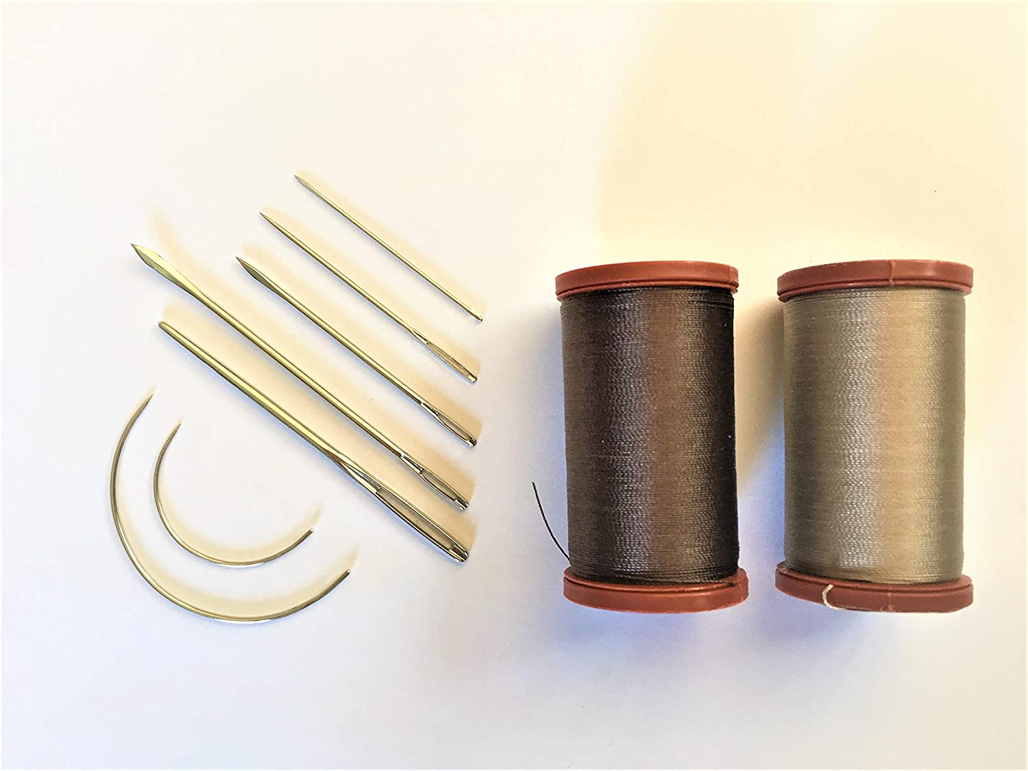 Upholstery Repair Kit Coats Extra Strong Upholstery Thread Plus Heavy Duty Assorted Hand Needles: 7 Needles and 2 spools 150 Yards Each (Brown & Tan)