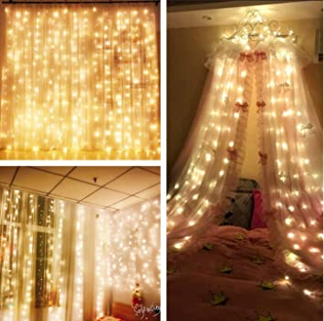 300 LED Window Curtain String Lights 9.8ft x 9.8ft/3m x 3m, 8 Modes ...