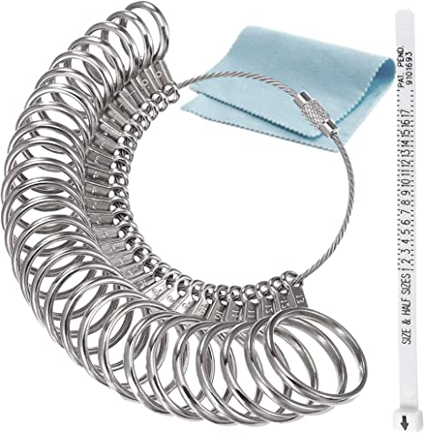 Medidor de anillos de hierro inoxidable, herramienta de medición ...