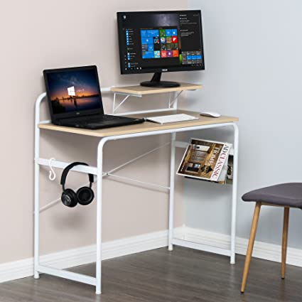e131669a4 Image Unavailable. Image not available for. Color  Computer Desk with 1  Tier Removable Shelf Wood Laptop Writing Study Desk Table for Home Office