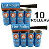 Brand New - 2 x LINT ROLLERS + 10 STICKY REPLACEMENT HEADS - Easy to Use Lint Roller - Pet Hair & Fluff Remover - Simply Removes the Dust / Dirt & Animal Hairs from Clothing & Furniture
