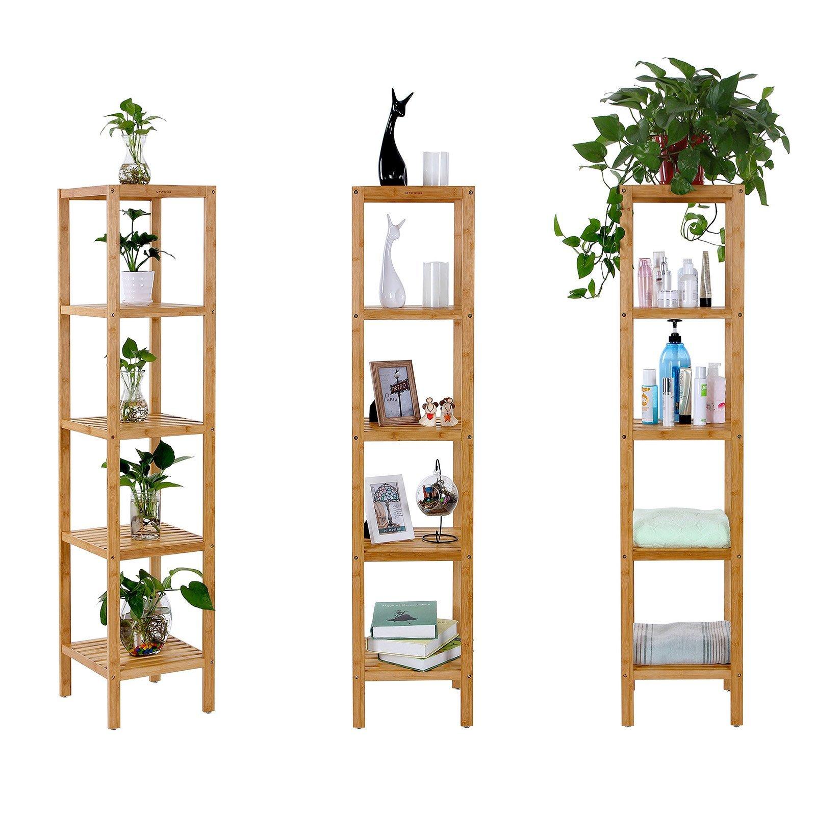 SONGMICS Narrow Shelving Unit Bathroom Shelf 5-Tier Multifunctional Storage 100% Bamboo Wood Corner Rack for Kitchen Livingroom Bedroom UBCB55Y by SONGMICS (Image #4)