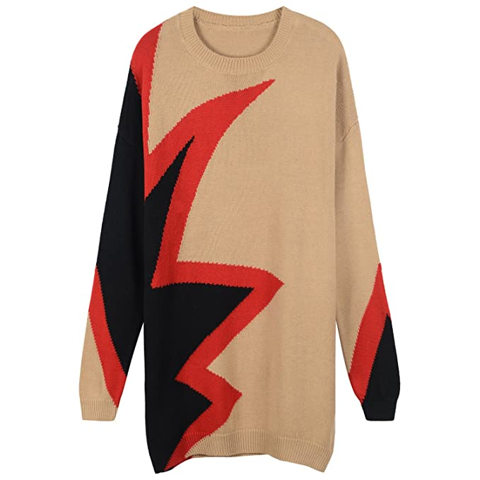 VB Collar de jersey de manga larga protuberancia Geometría Color ...