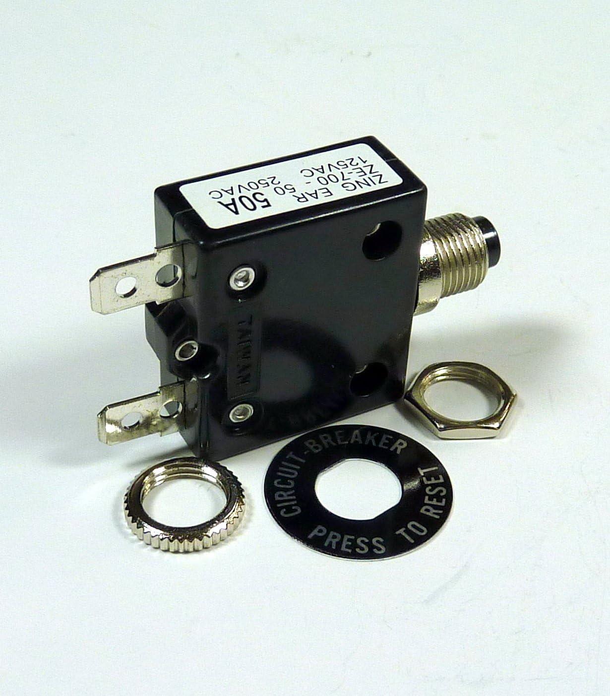 125V AC Philmore B7050 50A Push Manual Reset Thermal Circuit Breaker 50V DC