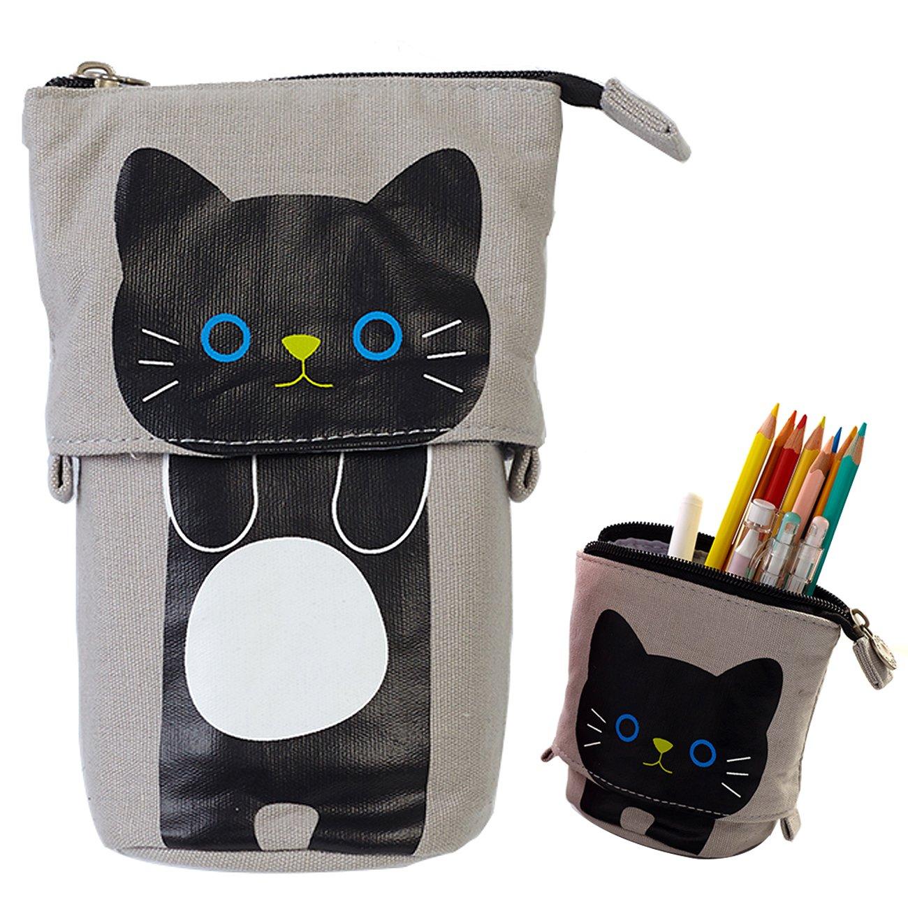 iSuperb Transformer Stand Store Pencil Holder Canvas+PU Cartoon Cute Cat Telescopic Pencil Pouch Bag Stationery Pen Case Box with Zipper Closure 7.5 x 4.9 x 3.0inch/4.1x 3.0inch (Pink)