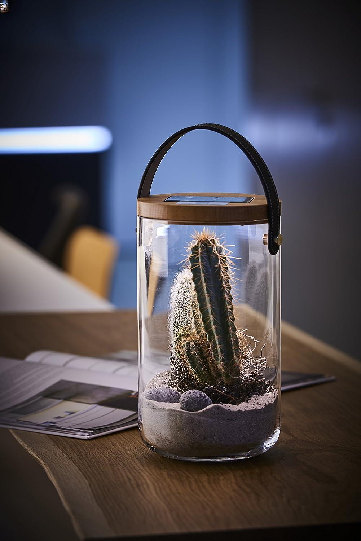 Lumix Deco Glass – Solarlampe//Solar Mundgeblasenes Deko Glas mit Bambusholzdeckel Echtleder-Trageriemen und LED Beleuchtung USB Ladefunktion Modell Long Krinner Laterne