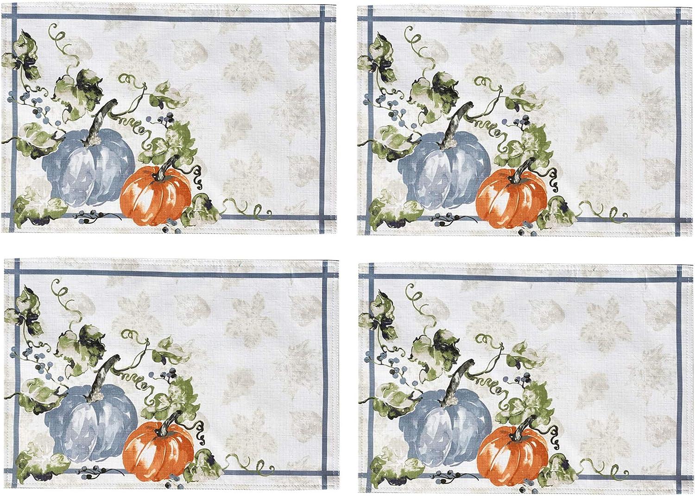 Newbridge Pumpkin Vines Stone Washed Bordered Thanksgiving and Fall Season Fabric Placemat Set, Multi-Colored Pumpkin Cottage Harvest Print Easy Care Placemats, Set of 4 Bordered Placemat Sets