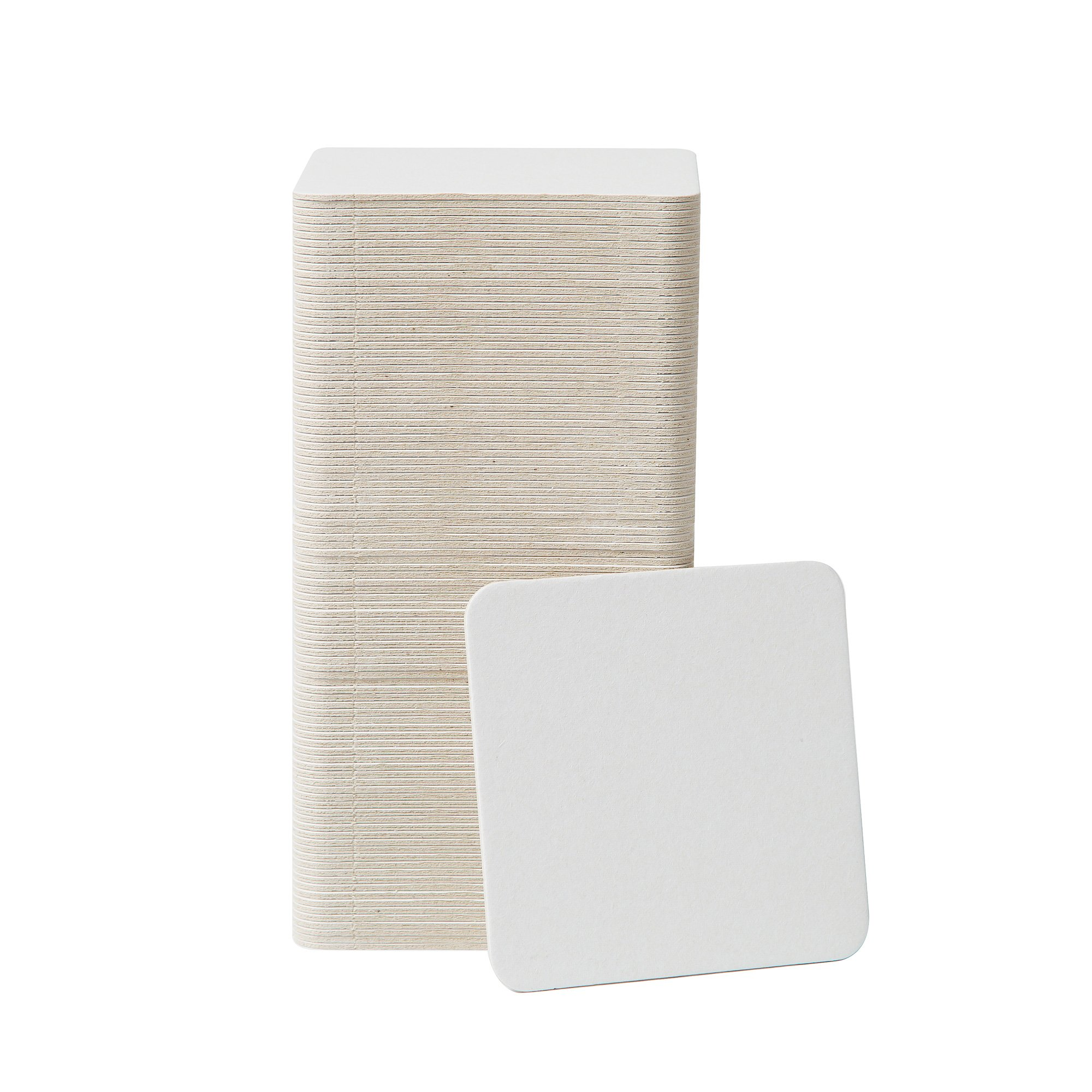 BAR DUDES Cardboard Coasters 100 Pack 4''x4'' Square - White Blank Coasters Bulk Set - Paper Coasters for Drinks, DIY, Kids Arts and Crafts