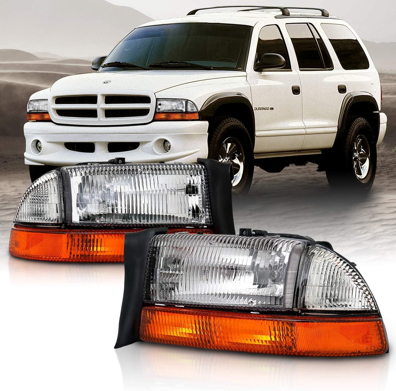 AmeriLite Chrome Replacement Headlights Corner//Parking Sets for Dodge Dakota//Durango Driver and Passenger Side