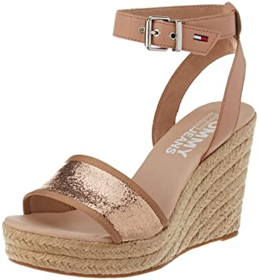 5583ec07d205 Hilfiger Denim Women s Metallic Wedge Sandal Espadrilles Pink (Rose Gold  638) 7.5 UK