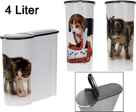 Lata de Comida para para trockenfutter – 4 litros – Gato Forro Caja Perros Forro Caja Lata de Comida para Animales: Amazon.es: Productos para mascotas