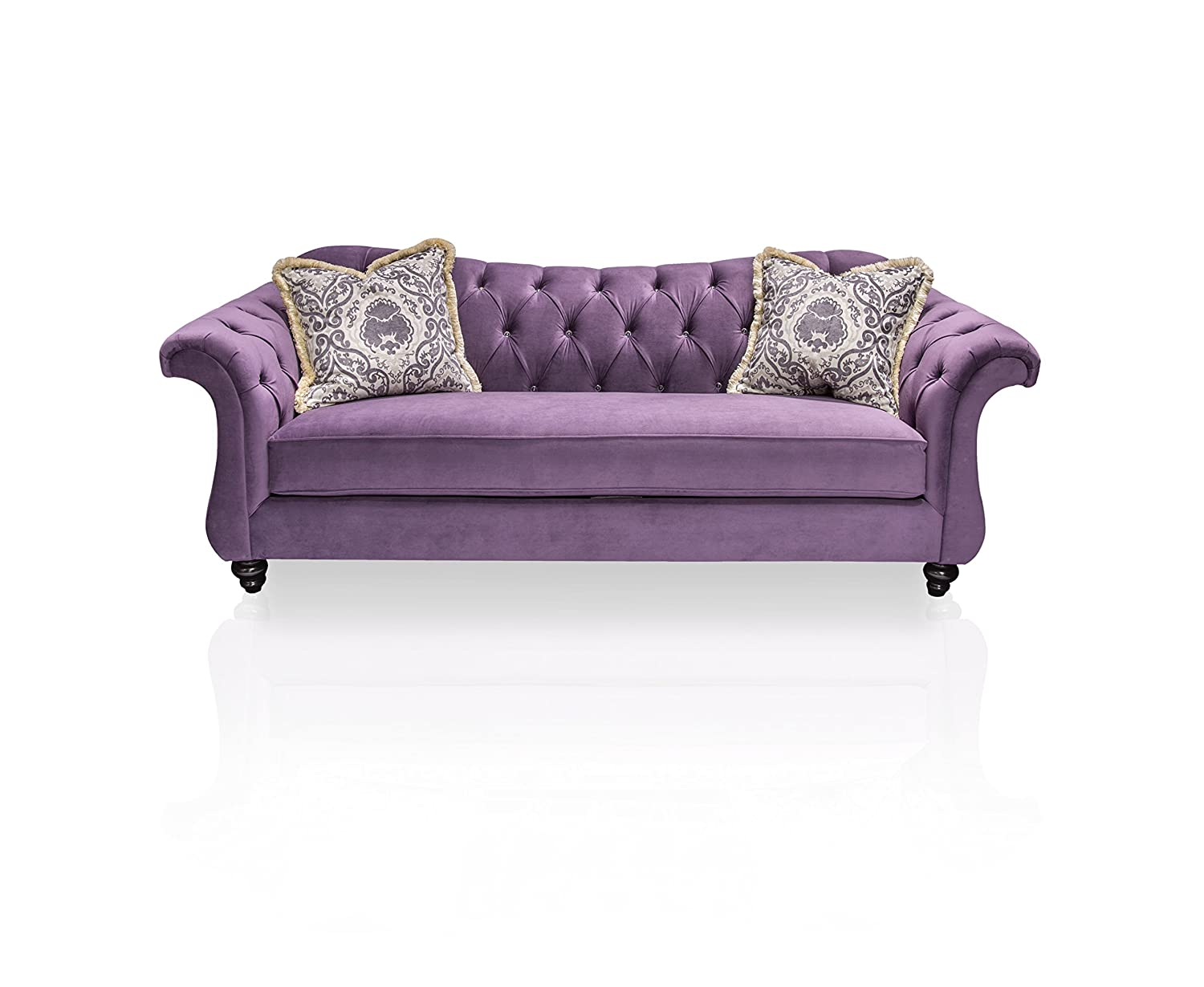 Amazon.com: Furniture Of America Ivorah Glamorous Sofa, Purple: Kitchen U0026  Dining
