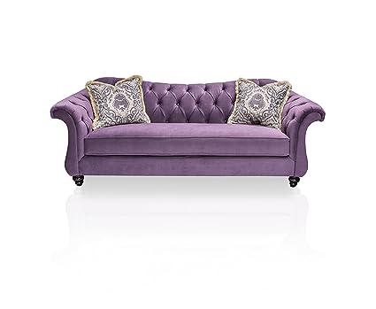 Pleasant Furniture Of America Ivorah Glamorous Sofa Purple Bralicious Painted Fabric Chair Ideas Braliciousco