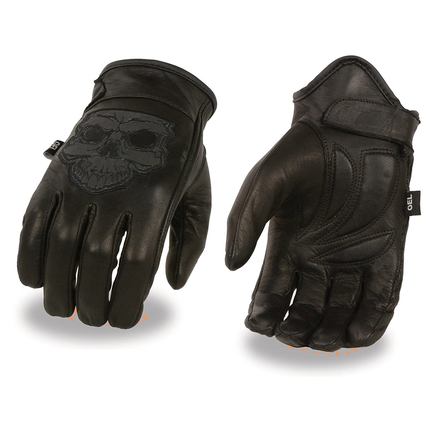 Milwaukee Leather-MG7570-Mens Reflective Skull Premium Leather Short Wrist Gel Palm Driving Gloves Small Black