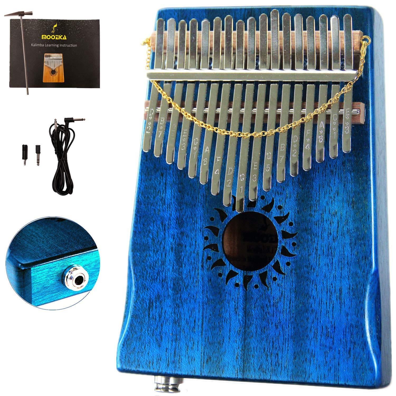 Moozica Mahogany Tone Wood Kalimba, Professional 17 Keys Acoustic Finger Thumb Piano Music Gift (Blue-EQ)