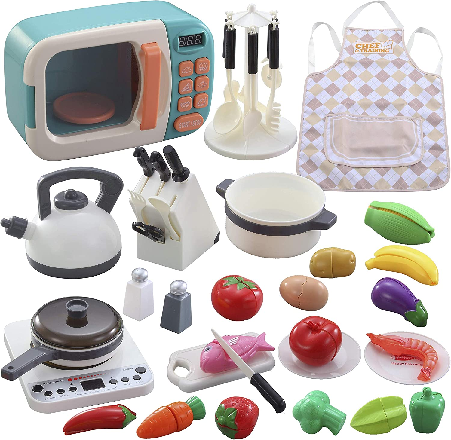 Pretend Play Kitchen Cookware 42-pcs Kids toy with Microwave, Electronic Induction Cooktop, Cookware Pot and Pan, Cooking Utensils and cutting play food Great Learning Gifts for Toddlers Girls Boys