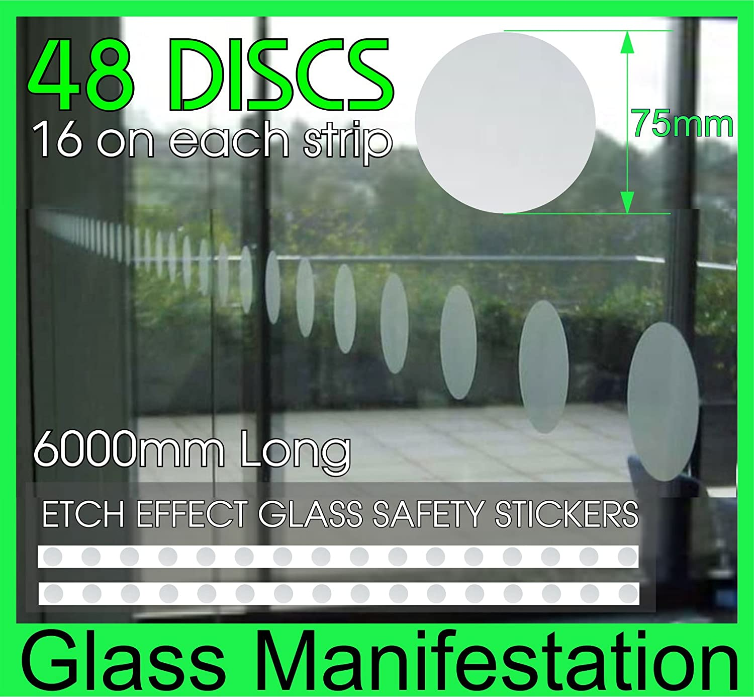 Amazon com pack of 48 pcseach disc is 75mm diameter window etch effect safety stickers kit for glass manifestation 6000mm in length pre spaced