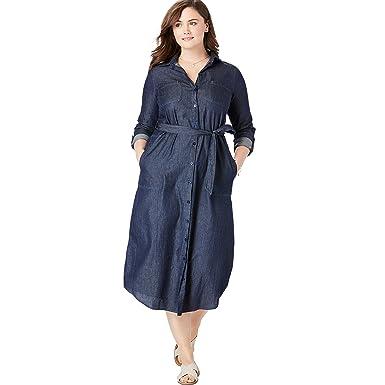 Woman Within Women\'s Plus Size Denim Shirtdress - Dark Denim, 14 W ...