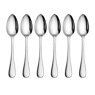 Artaste 59373 Rain 18/10 Stainless Steel Grapefruit Dessert Spoon, 6.35-Inch, Set of 6