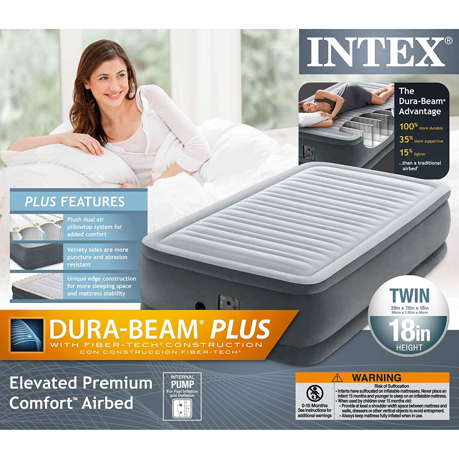 Intex Comfort Plush Elevated Dura-Beam Airbed with Internal Electric Pump Bed Height 18