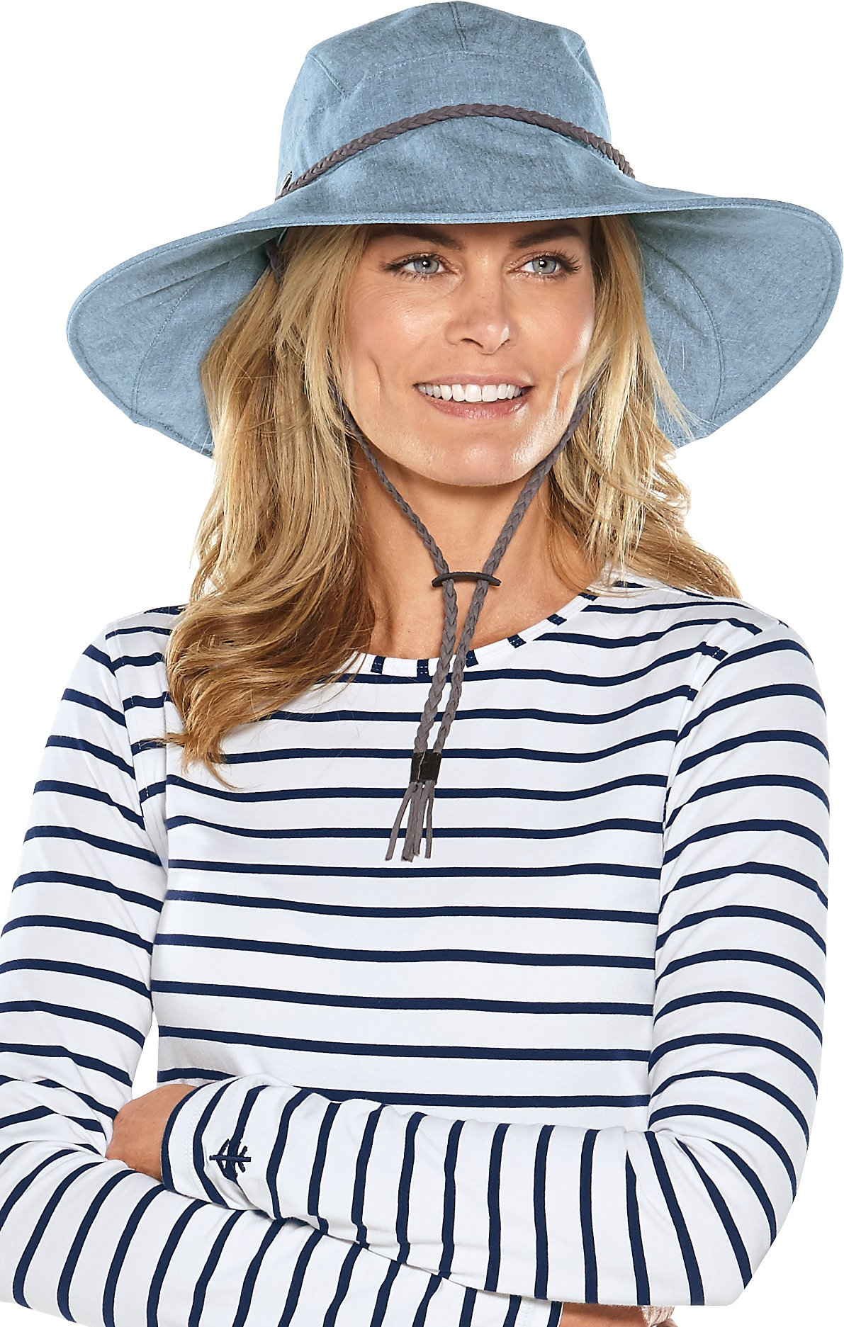 Coolibar UPF 50+ Women's Gardening Hat - Sun Protective (Large/X-Large- Chambray)