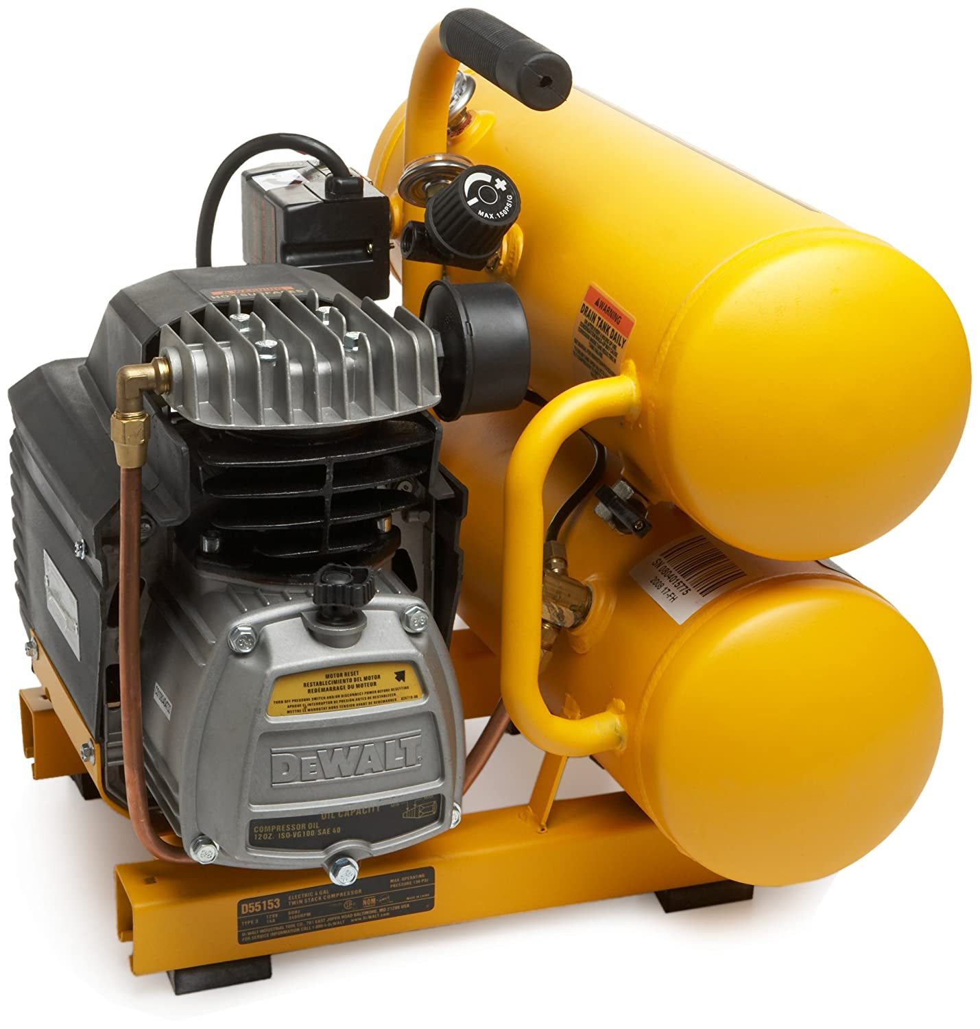 DEWALT D55153 15 Amp 1-Horsepower 4 Gallon Oiled Twin Hot Dog Compressor: Amazon.es: Bricolaje y herramientas