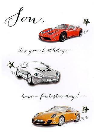 Son Happy Birthday Embellished Greeting Card Joie De Vivre Range Cards: Amazon.es: Oficina y papelería