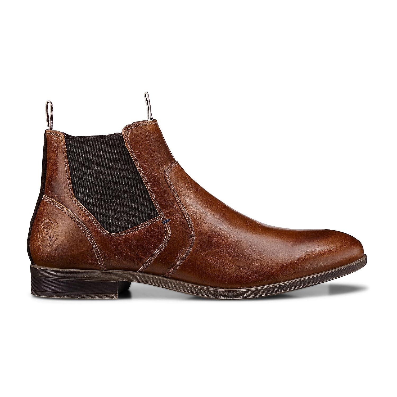 Cox Herren Herren Cox Chelsea-Stiefel in Braun aus Leder, Stiefelette mit Stretch-Einsatz 857d88