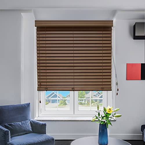 Chicology Real Wood Blinds window horizontal 2-inch venetian slat, Real Wood, Variable Light Control – Hazelnut, 36 W X 64 H