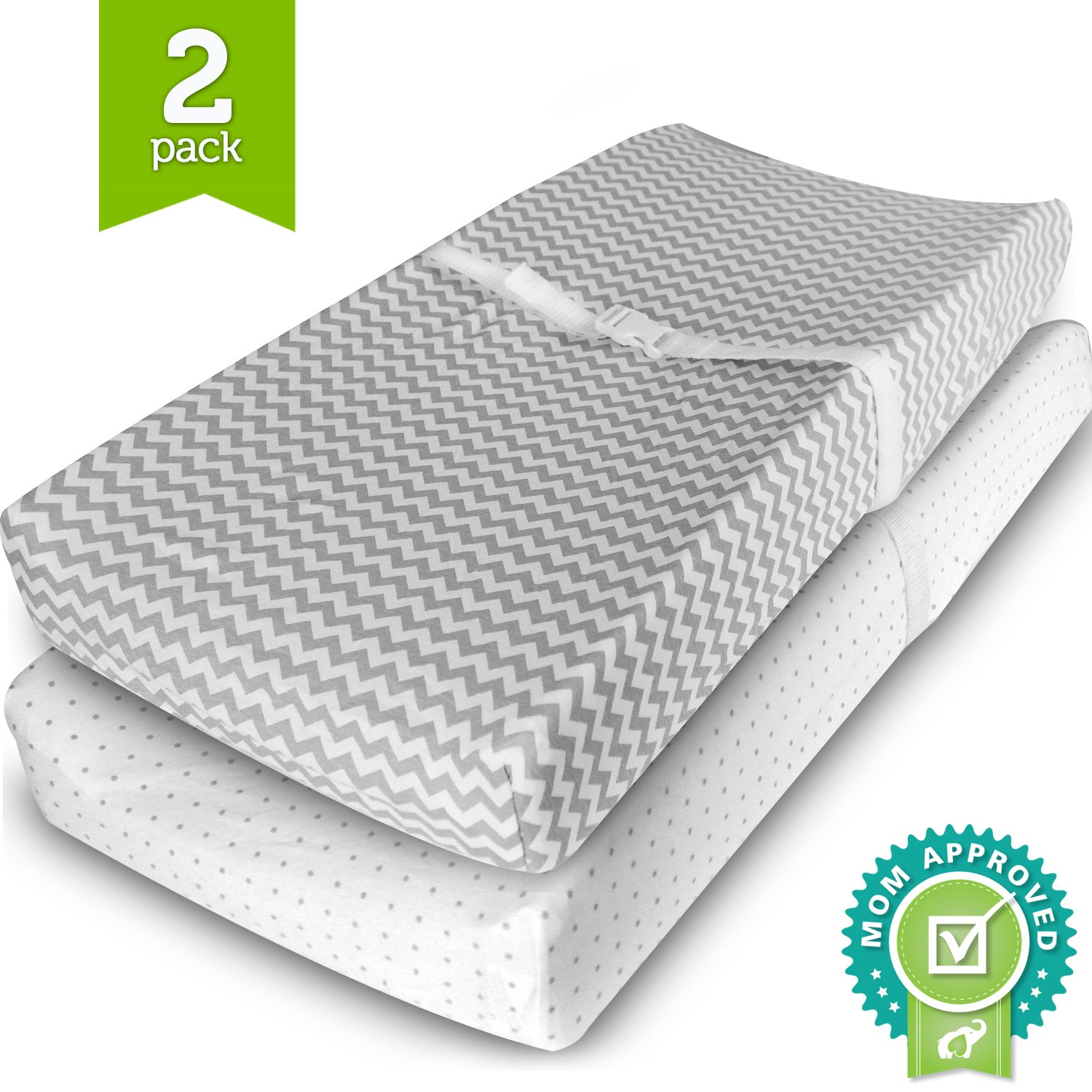 Ziggy Baby Changing Pad Cover, Cradle Bassinet Sheets Fitted Jersey Cotton (2 Pack), Grey/White, 2 Pack