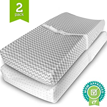 Changing Pad Cover Grey//White 2 Pack Fitted Sheets Cradle Sheet Set