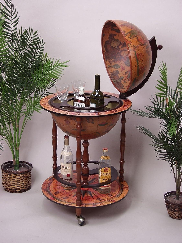 iovivo Globusbar aus Massivholz im klassischen Design, 51x51x92cm ...
