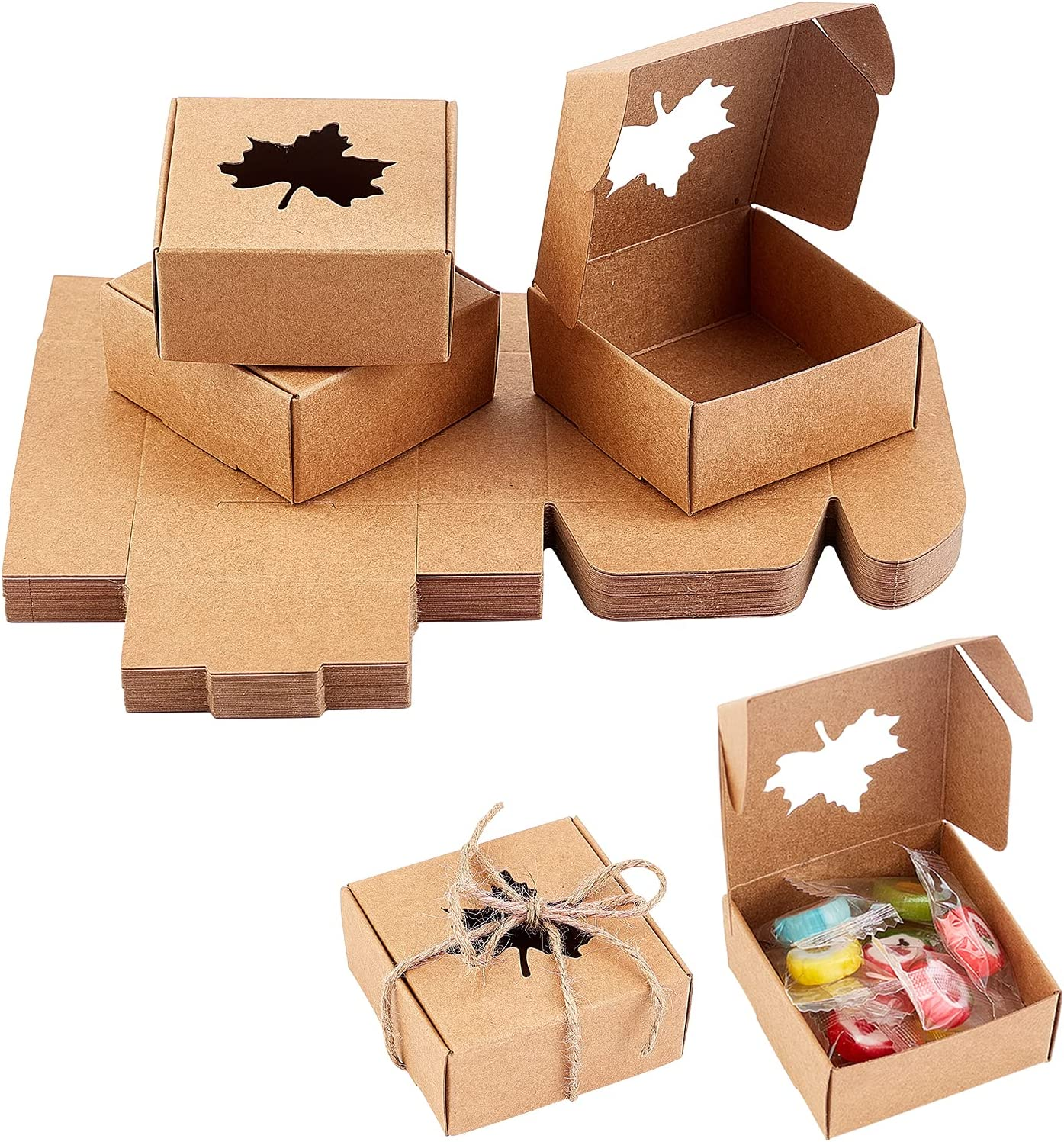 PH PandaHall 30 Pack Kraft Square Soap Box with Maple Window Mini Kraft Paper Gift Box for Homemade Soap Packaging Soap Making Supplies Party Favor Treats