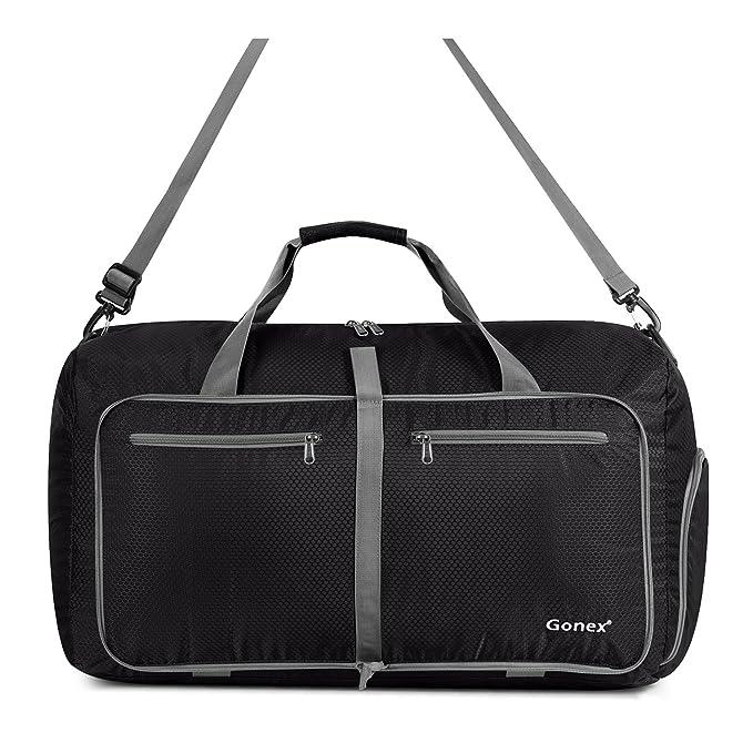 Amazon.com  Gonex 60L Foldable Travel Duffel Bag Water   Tear Resistant,  Black  Sports   Outdoors 7c1b0003a9