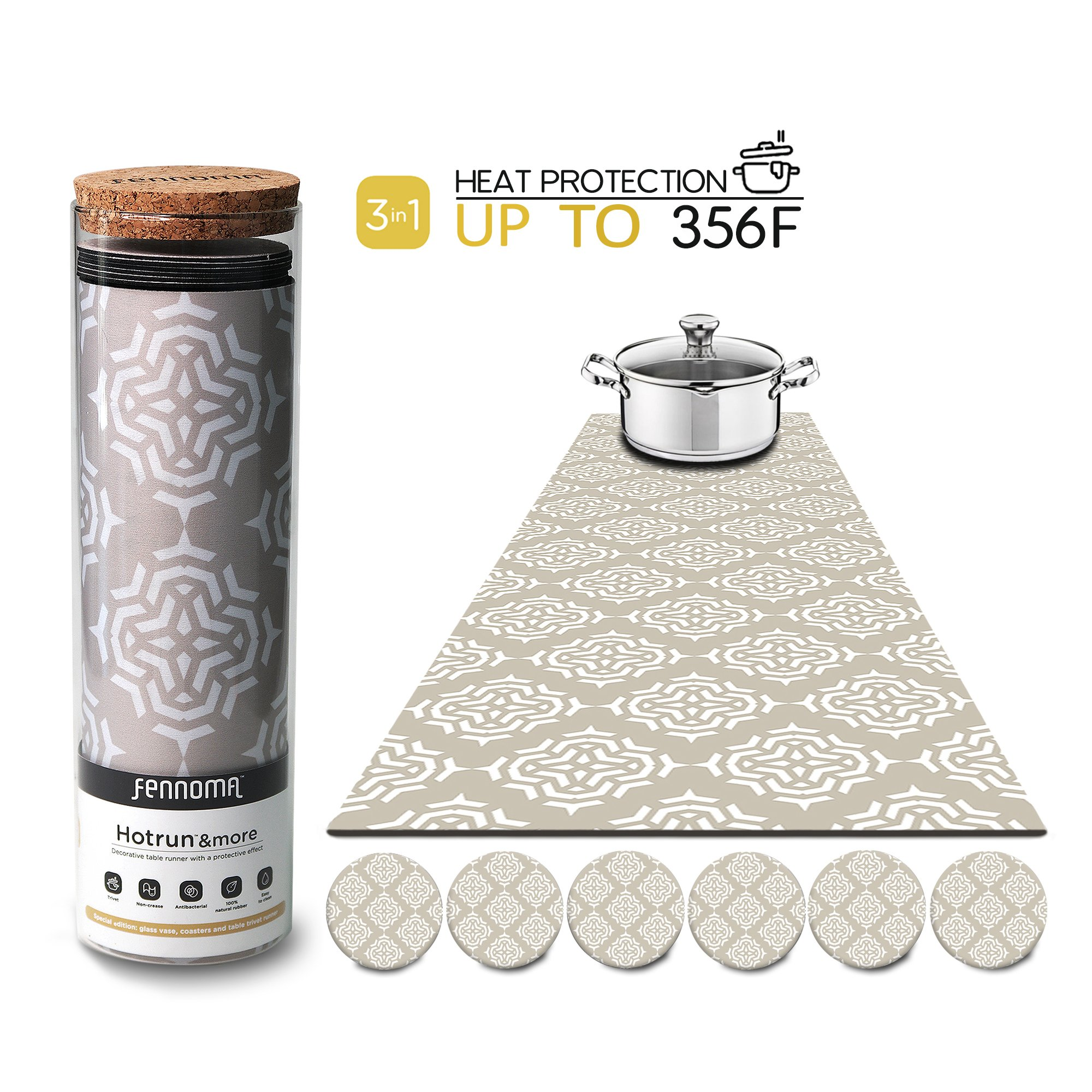 Hotrun - 3 in 1 - Trivet and Decorative Table Runner With Coasters (6 pcs) Handles Heat Up to 356F, Anti Slip, Waterproof, and Convenient for Hot Dishes and Pots + Glass Vase (Floral cream) by Fennoma