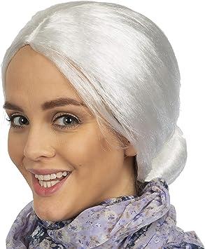 Amazon.com: Skeleteen - Peluca blanca de mujer vieja ...