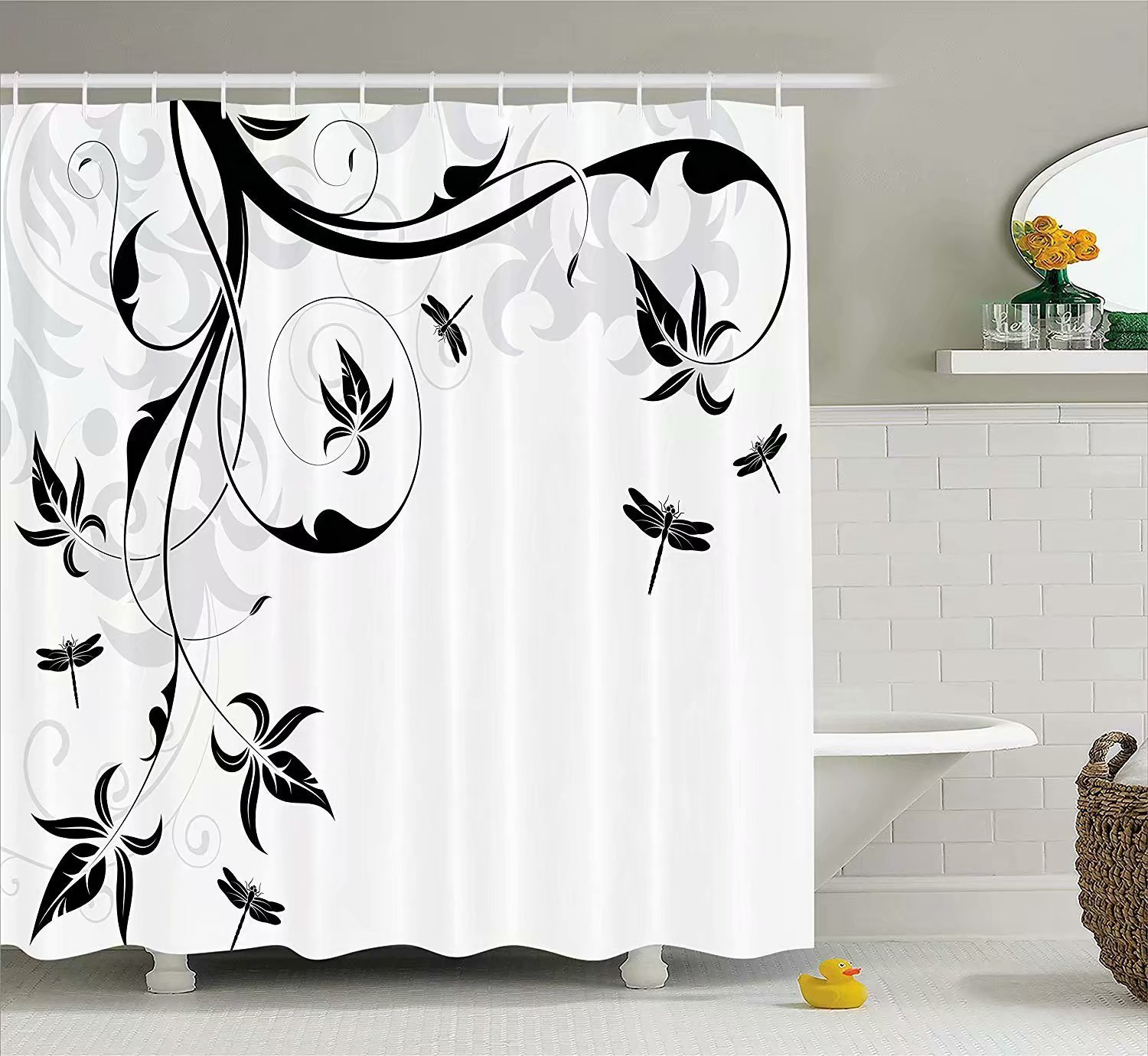 KANATSIU Swirled Floral Background Damask Curl Branches Leaves Print Shower Curtain 12 plactic Hooks,100% Made Polyester,Mildew Resistant & Machine Washable,Width x Height is 72x72