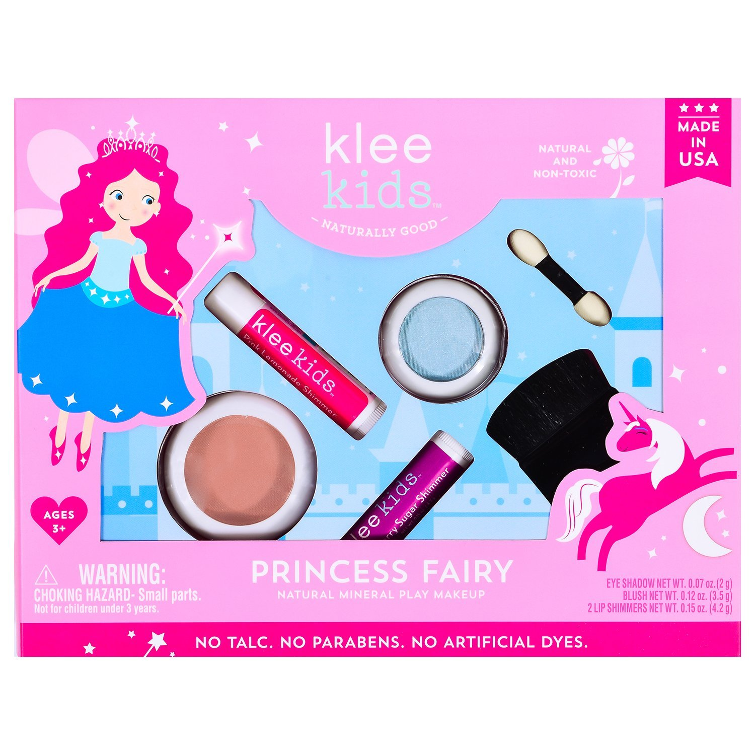 Princess Fairy - Klee Kids Natural Mineral Makeup 4 Piece Kit with Pressed Powder Compacts. Non-Toxic. Made in USA.