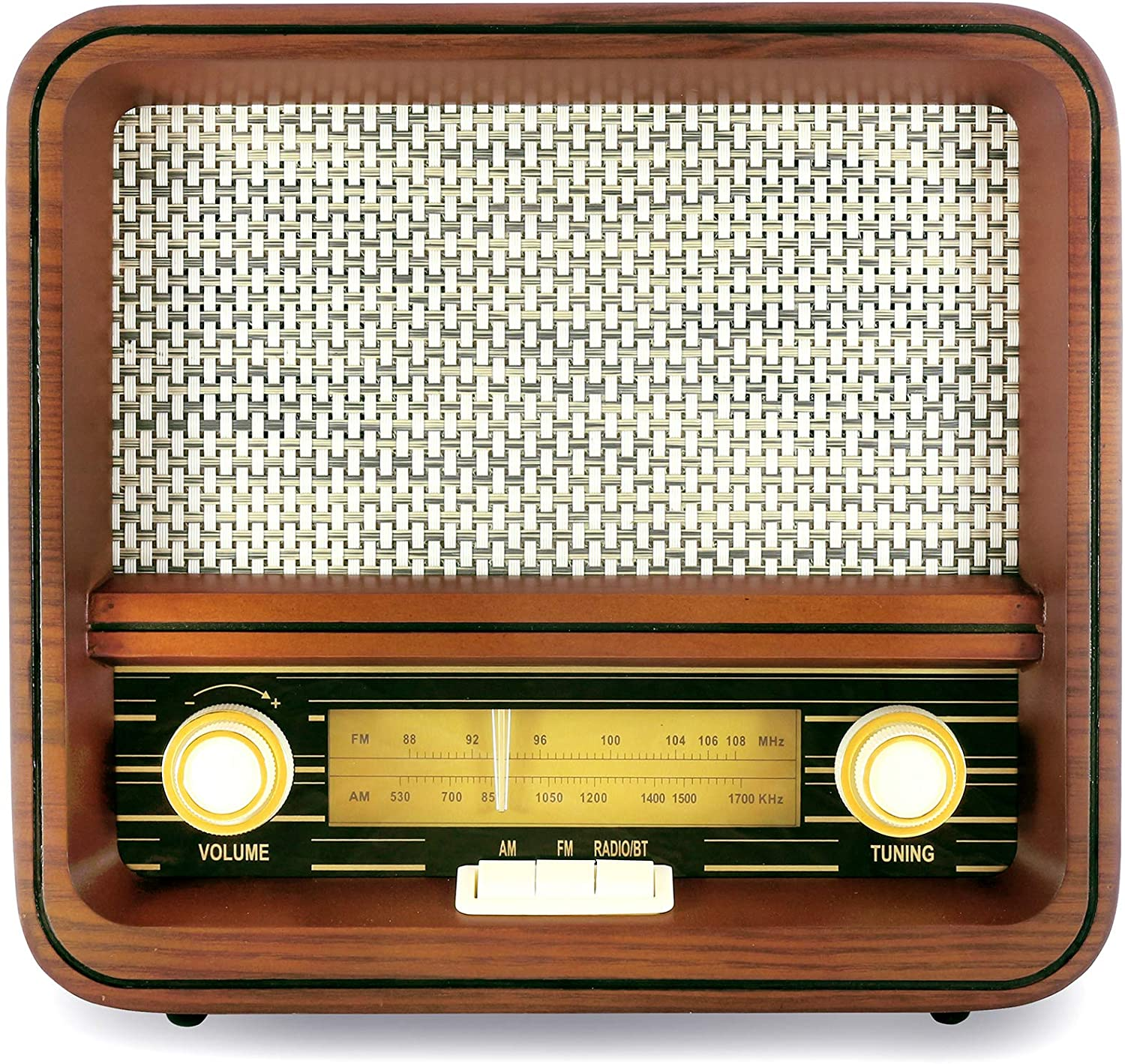 Fuse Vintage Retro Bluetooth AM/FM Radio Speaker + Real Handcrafted Wood Exterior - (RAD-V1)