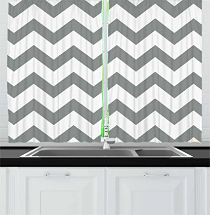 Amazoncom Ambesonne Grey Kitchen Curtains Grey And White Chevron