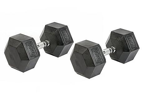 Pesas mancuernas mancuernas hexagonales, Juego de 2 Profesional hexagonal goma 30 kg