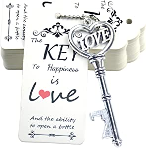 Makhry 52pcs Vintage Skeleton Key Bottle Opener with Love Heart Escort Thank You Tags and Keychain as Wedding Favor for Wedding Guest Wedding Decor(Antique Silver)