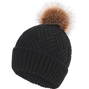 2966fe1d342 Lamdgbway Pom Pom Beanie Hat Chunky Winter Knit Hat Stretch Faux Fur ...